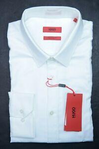Hugo Boss Men's Elisha Extra Slim Fit Easy Iron Cotton White Dress Shirt 41 16