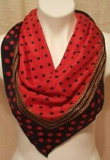 Vintage Echo Designer Silk Scarf Italy Navy Red Dots Chains 32""