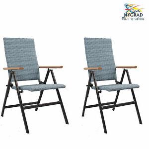 Hygrad 2 x Rattan & Aluminium Folding Reclining Garden Outdoor Picnic Arm Chair