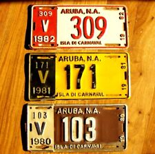 3 ARUBA License Plates Tags LOT 1978 1979 1980 Old Different Slogan LOW SHIPPING