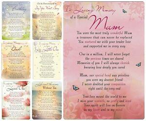 Memorial Plastic Coated Remembrance Card - Graveside Memory Plaque Waterproof