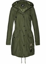 Kapuzen-Parka mit Stickerei Gr. 36 Oliv Übergangs-Jacke Damenjacke Mantel Neu