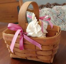 1989 Longaberger Basket With Handpainted Wood Heart and fitted basket lining