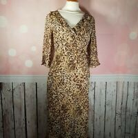 AUSTIN REED - 100% SILK LEOPARD PRINT CHIFFON FAUX-WRAP DRESS UK 14 VGC
