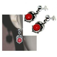Boucles d'oreilles ethnique argent massif 925 et corail rouge bijou earring