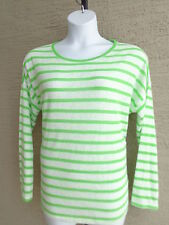 NWT KIARA L/S SCOOP NECK HIGH-LOW LIGHT WEIGHT KNIT GREEN/WHITE STRIPE TOP XXL