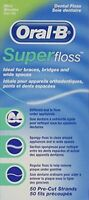Oral-B Super Floss Mint Dental Floss Pre-Cut Strands 50 Each Pack of 2