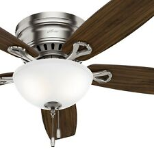 "52"" Low Profile Ceiling Fan in Brushed Nickel with Bowl LED Light kit, 5-Blade"