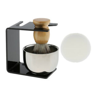 Men Shaving Brush+Razor Stand Holder+Stainless Steel Mug Bowl Shave Soap Set