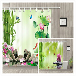 Bamboo Butterfly Lotus Koi Bathroom Shower Curtain Waterproof Fabric 12 Hooks