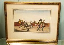 18C Antique Suerto de Matar Handcolored Engraving Antonio Carnicero Bull Fight