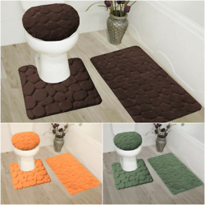 NEW 3PC SET BATH MAT RUGS LID COVER SUPER SOFT MEMORY FOAM CUSHION COMFORT ROCK