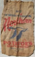 Vintage Northern Line Red River Valley 100lb Potatoes Burlap Sack Goose Graphics