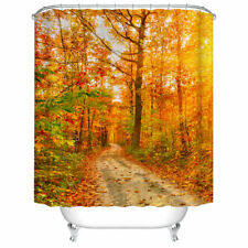 Bathroom Shower Curtain Decor Set Autumn Falling Maple Leaves Design Curtains