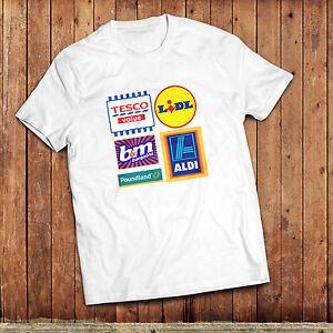 Budget supermarket T-Shirt, Tesco Value, Lidl, Aldi, poundland, B &M, UK high st