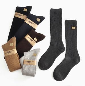2/5 Pairs Mens 100% Merino Wool Crew Socks Gentleman Dress Solid Thick Mid Calf