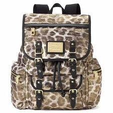 JUICY Couture GOLD LEOPARD Fur Look Laptop Book Backpack Bag NWT NEW FREE SHIP