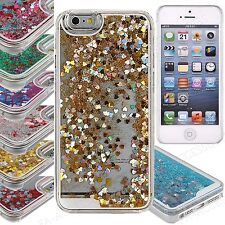 3D Liquid Quicksand Glitter Bling Heart Hard Back Case Cover iPhone 4 4S 5 5S 6