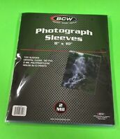 100 8x10 PHOTO SLEEVES-CRYSTAL CLEAR-ARCHIVAL SAFE-ACID FREE-2 MIL THICK- BY BCW