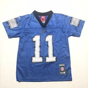 Reebok NFL Detroit Lions # 11 R Williams Jersey Youth Small 8 Blue Printed EUC