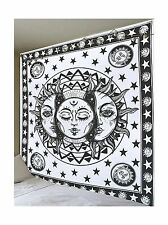 Black and White Sun Moon Tapestry Psychedelic Celestial Indian Sun Hippie - NEW