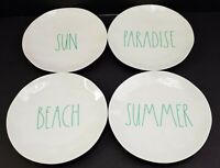 "Rae Dunn Beach Themed Melamine Bread Plates 8"" Teal Font Set Of 4 New"