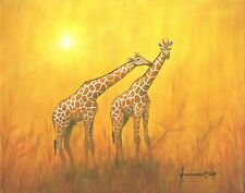 THE KISS LIMITED EDITION CANVAS GIRAFFES ANIMALS AFRICA SIGNED LISTED BY ARTIST