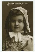 c 1909 Child Children PRETTY BIRTHDAY GIRL British photo postcard