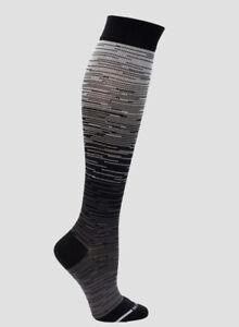 2 Pairs Dr. Motion Sports Compression Socks Knee-High Unisex Sports Black/Grey