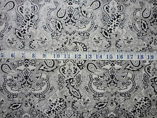Fabri-Quilts Paisley Black/White Cotton Quilting Fabric 1/2 YARD