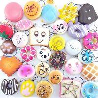 30Pcs Varisized Slow Rising Toy Random Squishy Soft Simulated Bread Straps Gift