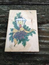 Holiday Lamp P030 Large Ink Rubber Stamp Wood Mount 1997 Stampendous Pine Cones