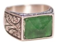 Steel pencil craft Sterling Silver men ring . Handmade. Natural Emerald Gemstone