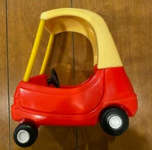 Flawed Little Tikes Dollhouse Size Mini Cozy Coupe Car Red Yellow Vintage 80s