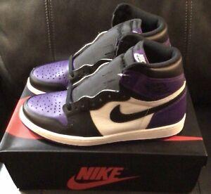"""Nike Air Jordan 1 High OG """"COURT PURPLE/BLACK"""" 555088-501, Men's Size 10.5"""
