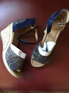 Gabor Blue Wedge Sandals Size 6