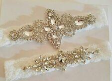 Wedding garter, Bridal Garter Set - CRYSTAL OFF WHITE LACE Wedding Garter Set