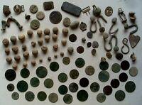 XIXème S., Napoléon Gros LOT de guerre 30 balles mousquet, boutons, 33 Monnaies