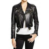 Black Cropped Leather Jacket Women Biker Moto Lambskin Slim Size XS S M L XL XXL