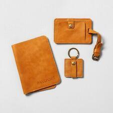 Hearth & Hand Passport/Cord and Luggage Tag Travel Set - Brown NIB