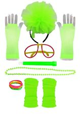 Neon Accessories I love 80s Fancy Dress hen party Pink Fishnet Gloves Glow stick