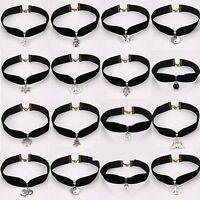Black Gothic Velvet Cord Choker Charm Necklace Pendant Retro Boho Tibetan Silver