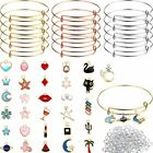 Charm Bracelet Making Kit 45 DIY Gold Charm Pendants With Expandable Bangle