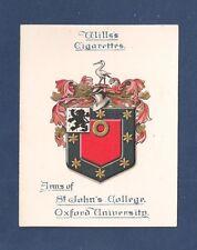 St JOHN'S COLLEGE  OXFORD UNIVERSITY Coat of Arms 1922 original print card