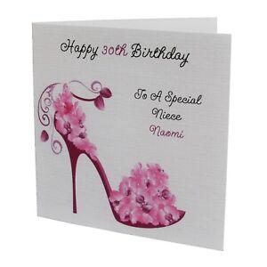 HANDMADE PERSONALISED Shoe Heel FEMALE Relation BIRTHDAY CARD 18th 21st 30th