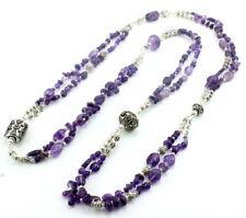Long Necklace natural purple amethyst gemstone beaded handmade 104 grams