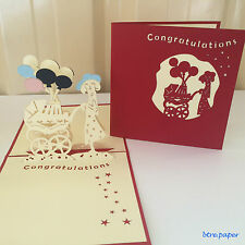 mother pram baby new born pop up 3D card gift greeting card congratulations