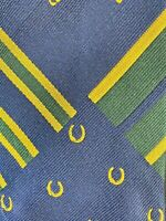 NWT Polo By Ralph Lauren Mens Silk Necktie Blue Green Gold Made In Italy Tie