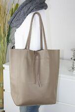 Italy bolso funda de cuero real de piel henkel Shopper Bag Taupe marrón H/
