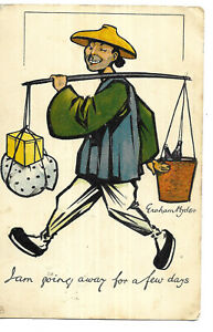 Graham Hyde - Comic Chinese Man Carrying Goods - Tuck